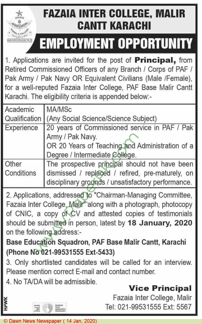 Fazaia Inter College jobs newspaper ad for Principal in Karachi