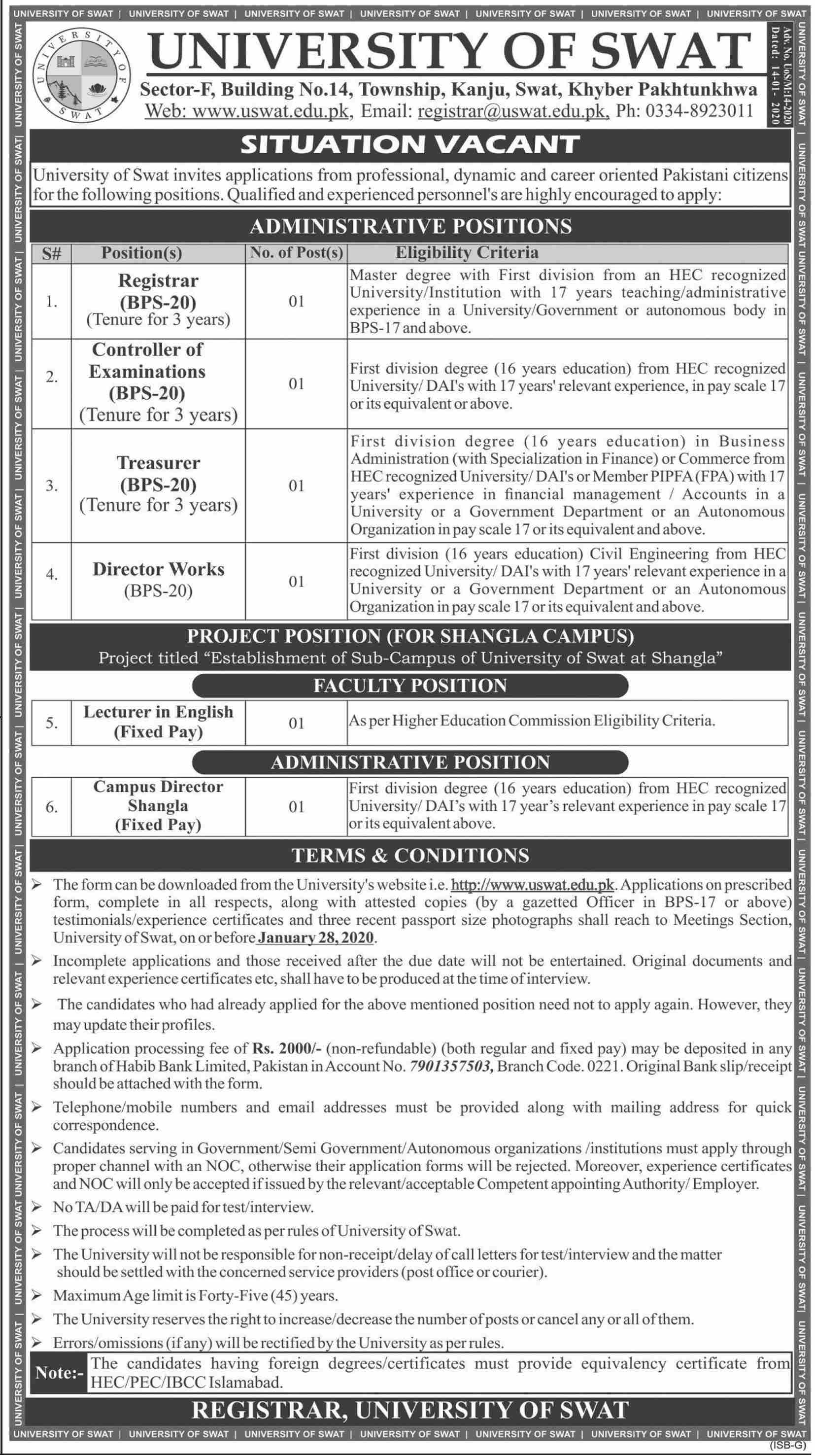 University Of Swat jobs newspaper ad for Controller Of Examination in Swat
