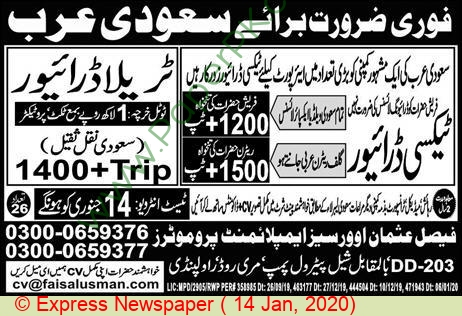 Faisal Usman Overseas Employment Promoters jobs newspaper ad for Taxi Driver in Rawalpindi