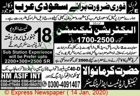 Hazrat Karmawala Technical Trade Test & Training Center jobs newspaper ad for Electrician Technician in Karma, Lahore
