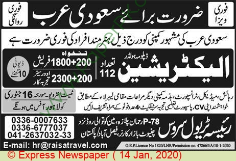 Raisa Travel Service jobs newspaper ad for Electrician in Faisalabad