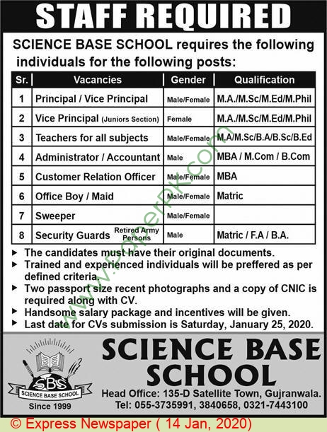 Science Base School jobs newspaper ad for Principal in Gujranwala