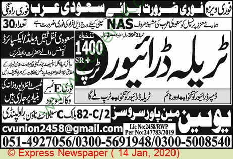Union Manpower Services jobs newspaper ad for Driver in Rawalpindi