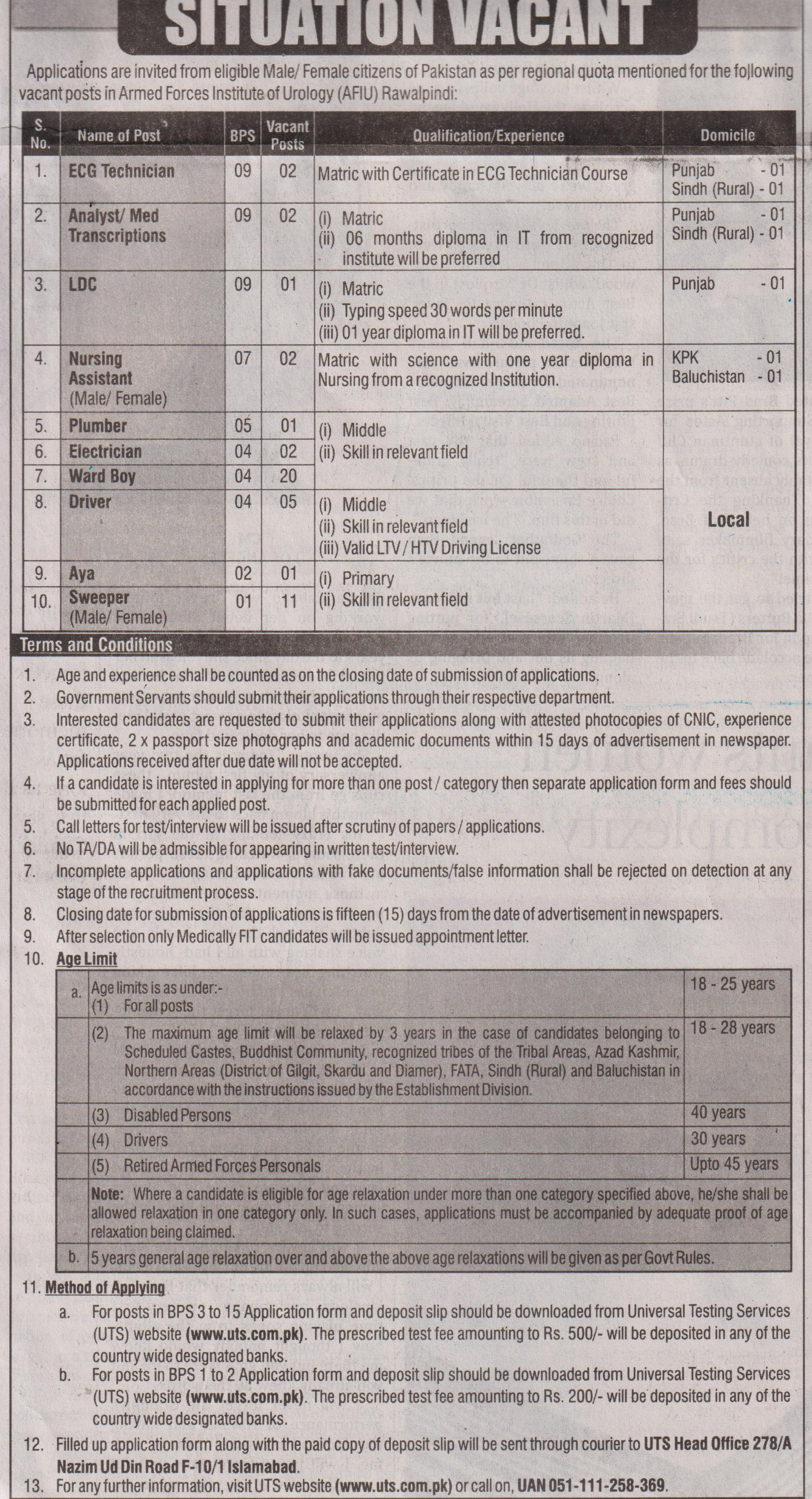 Armed Forces Institute Of Urology jobs newspaper ad for Sweeper in Rawalpindi