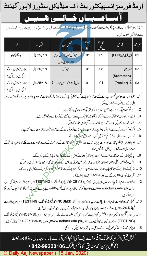 Armed Forces Inspectorate Of Medical Stores jobs newspaper ad for Lower Divison Clerk in Lahore
