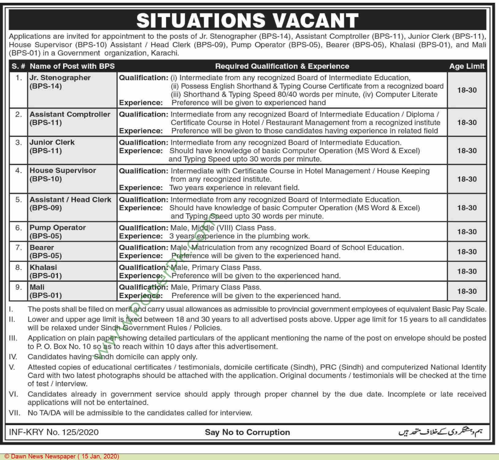 Government of Sindh jobs newspaper ad for Pump Operator in Karachi