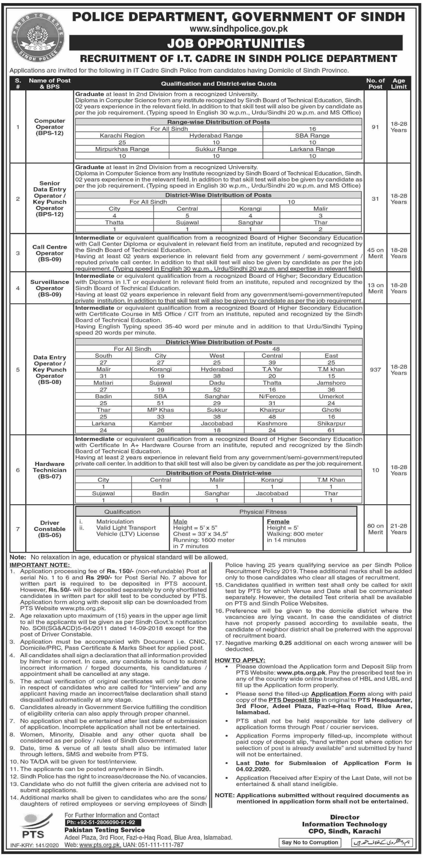 Sindh Police jobs newspaper ad for Driver in Karachi