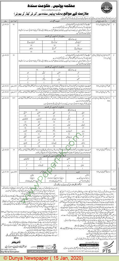 Sindh Police jobs newspaper ad for Call Center Operator in Karachi