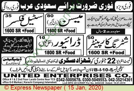 Shahzad Askari Technical Institute jobs newspaper ad for Steel Fixer in Lahore