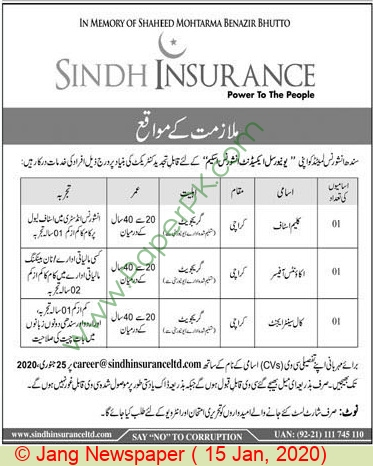Sindh Insurance Limited jobs newspaper ad for Call Center Agent in Karachi