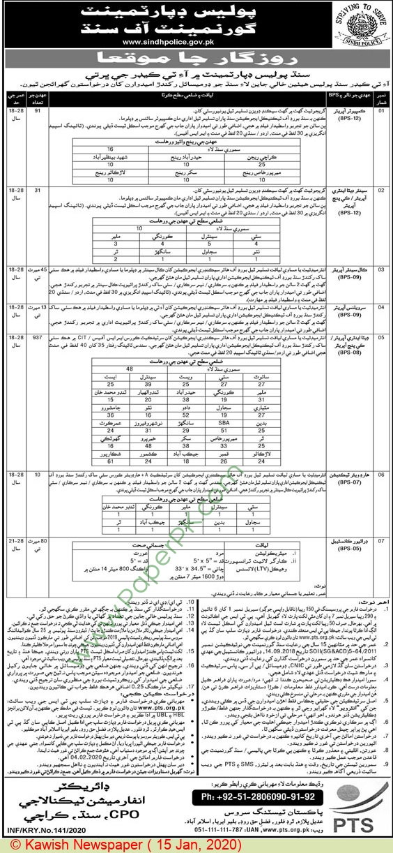 Sindh Police jobs newspaper ad for Computer Operator in Karachi