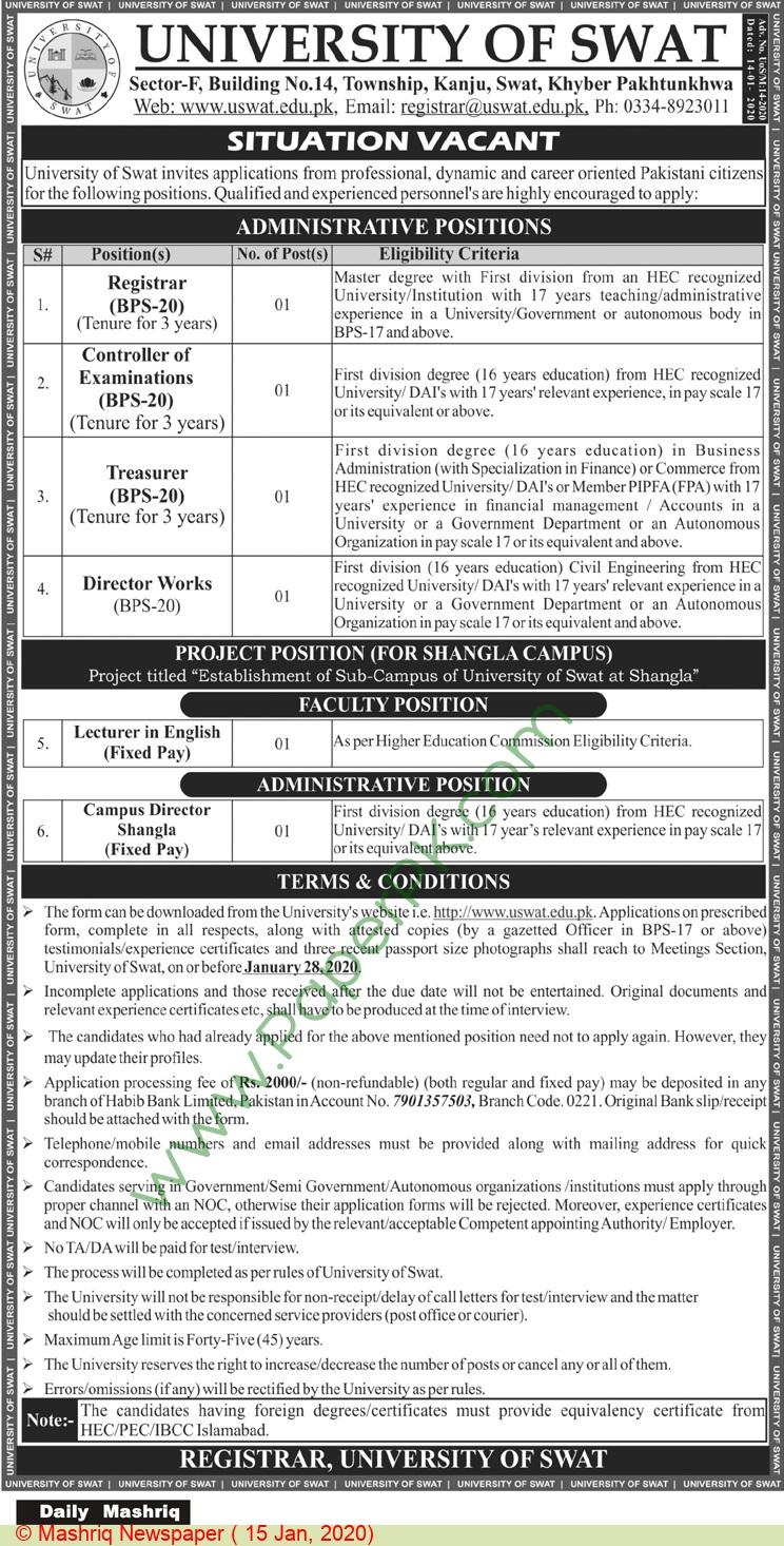University Of Swat jobs newspaper ad for Registrar in Swat