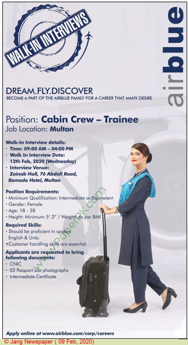 Air Blue  jobs newspaper ad for Cabin Crew Trainee in Multan
