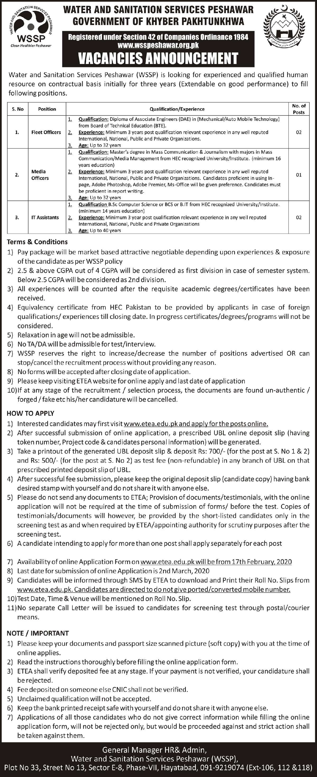 Water & Sanitation Services Company jobs newspaper ad for Fleet Officer in Peshawar