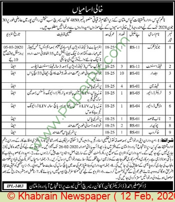 Cotton Research Institute jobs newspaper ad for Field Assistant in Multan