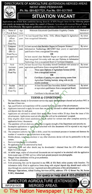 Department Of Agriculture Extension jobs newspaper ad for Field Assistant in Peshawar