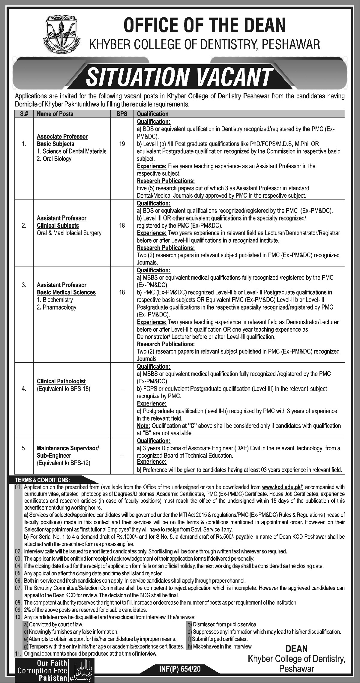 Khyber College Of Dentistry jobs newspaper ad for Assistant Professor Biochemistry in Peshawar