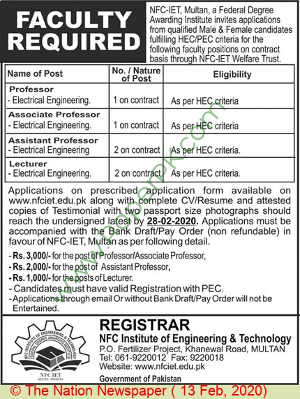 Lecturer jobs in Multan at Nfc Institute Of Engineering & Technology