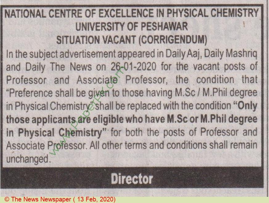 University Of Peshawar jobs newspaper ad for Professor in Peshawar