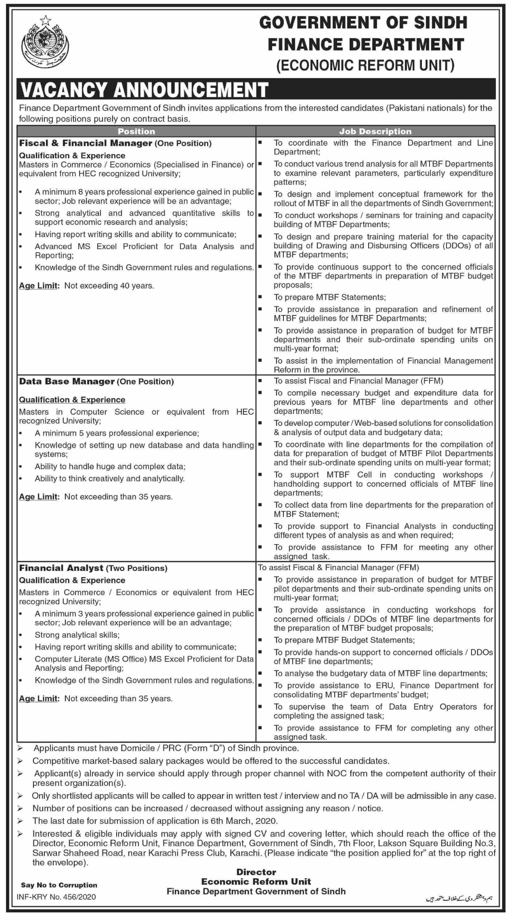 Fiscal & Financial Manager jobs in Karachi at Finance Department