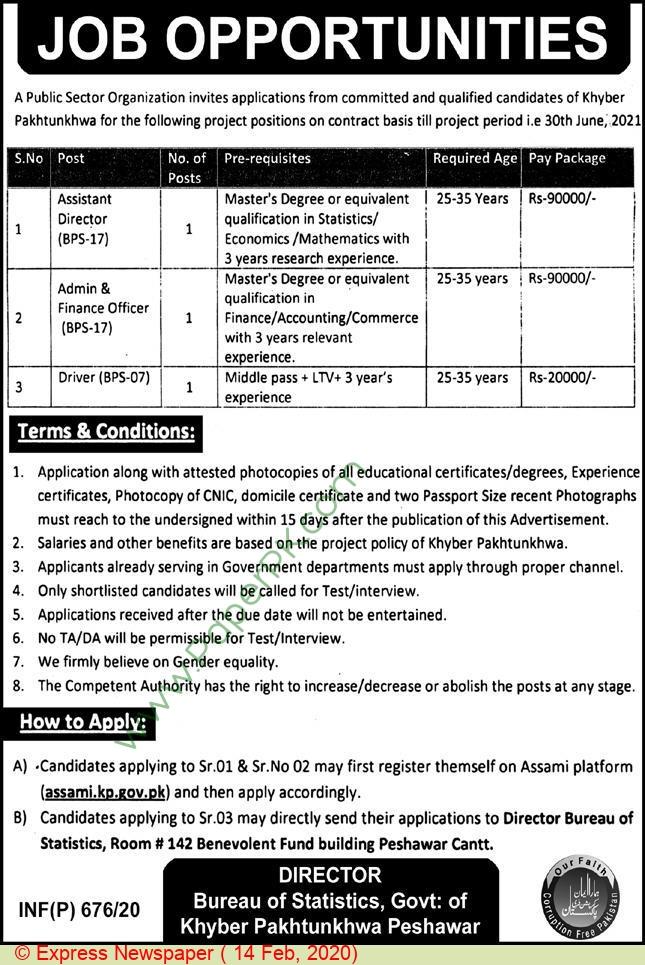 Pakistan Bureau Of Statistics jobs newspaper ad for Admin & Finance Officer in Peshawar