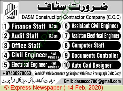 Dasm Construction Contractor Company jobs newspaper ad for Audit Staff in Lahore