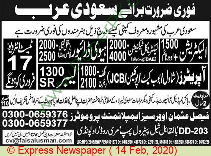 Faisal Usman Overseas Employment Promoters jobs newspaper ad for Heavy Driver in Rawalpindi