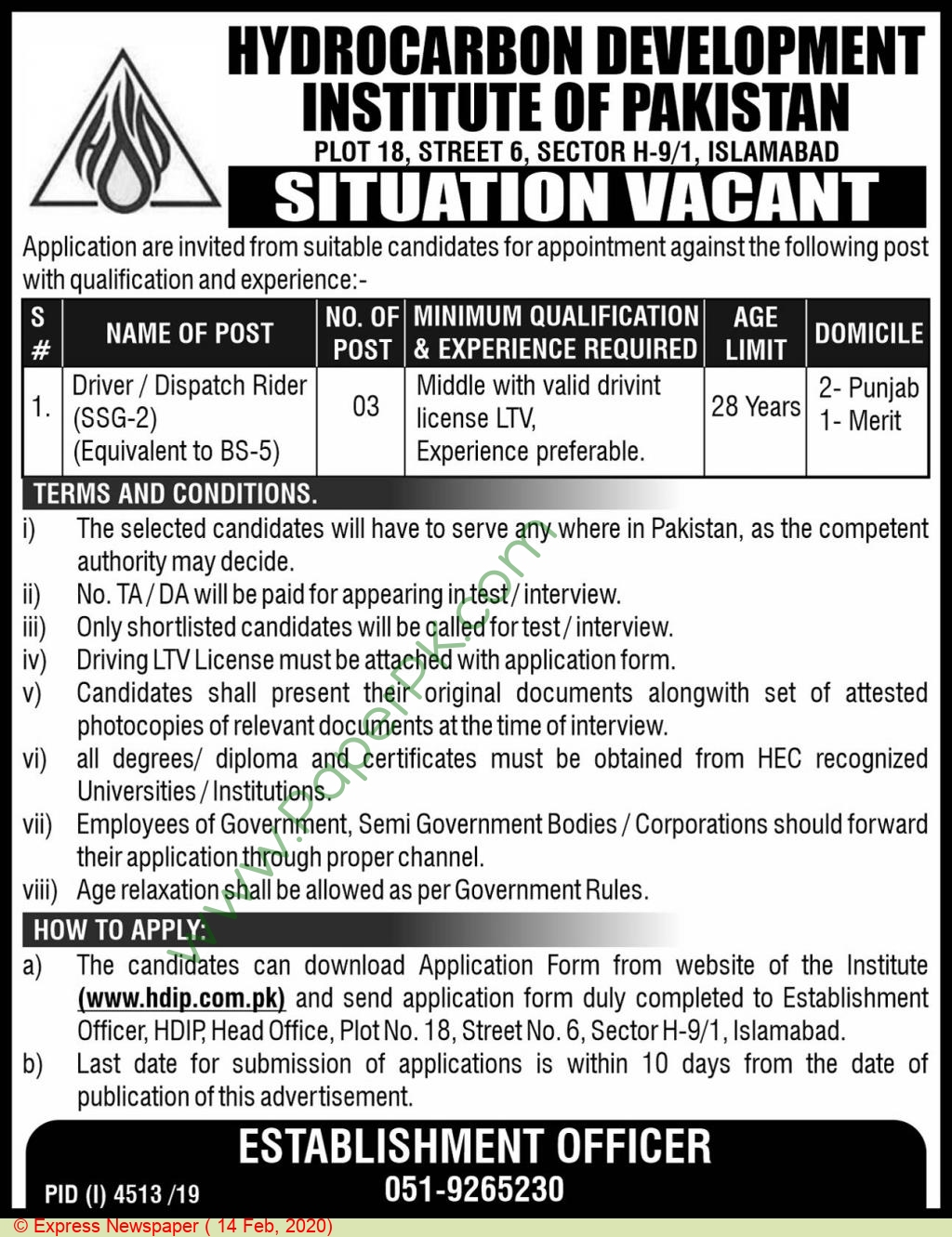 Hydrocarbon Development Institute Of Pakistan jobs newspaper ad for Driver in Islamabad