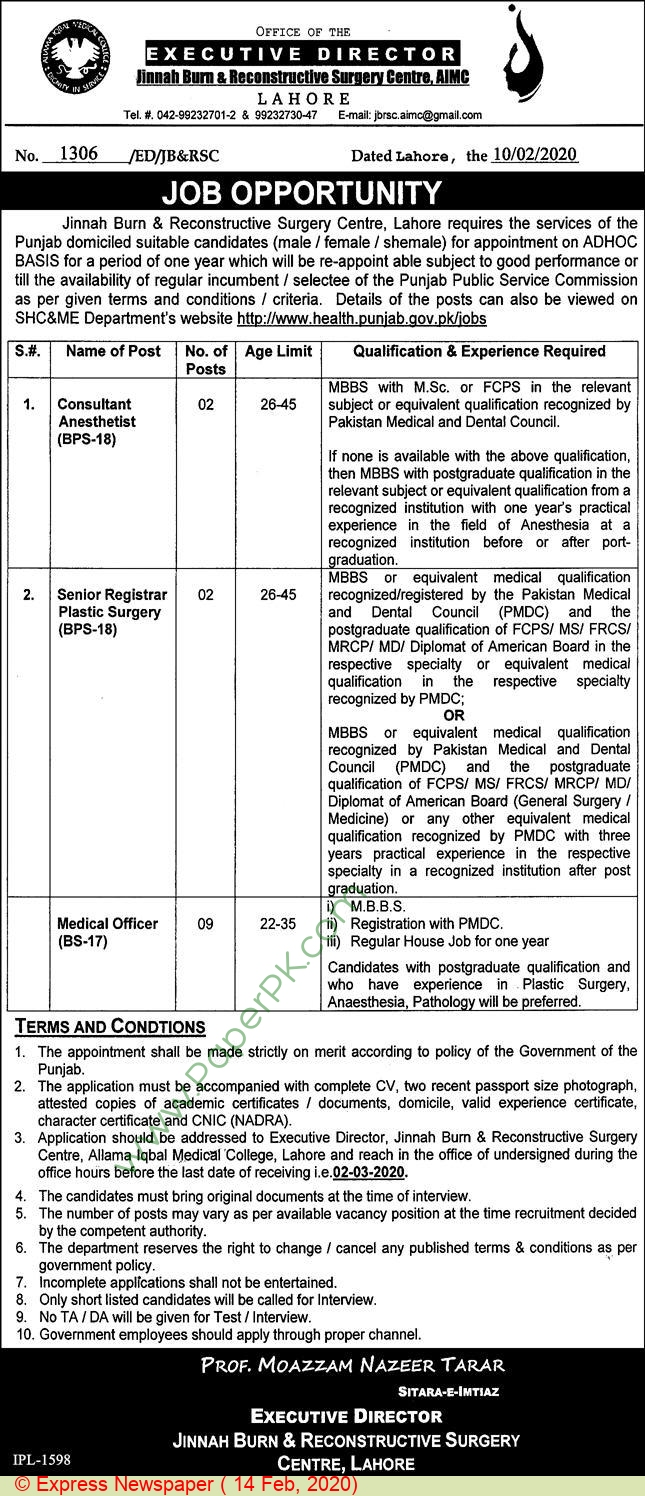 Jinnah Burn & Reconstructive Surgery Centre jobs newspaper ad for Consultant Anesthetist in Lahore