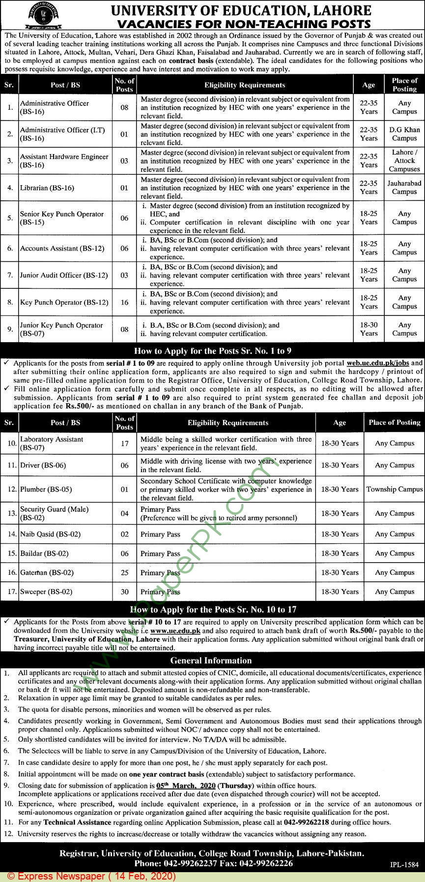 University Of Education jobs newspaper ad for Security Guard in Lahore