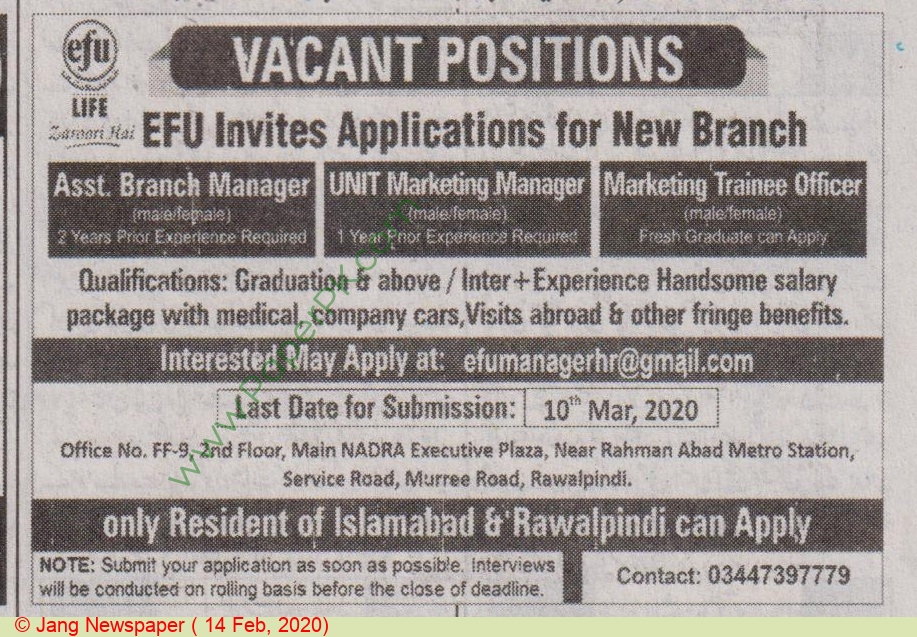 EFU Life Assurance Ltd jobs newspaper ad for Assistant Branch Manager in Islamabad