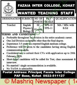 Fazaia Inter College jobs newspaper ad for Physics Teacher in Kohat