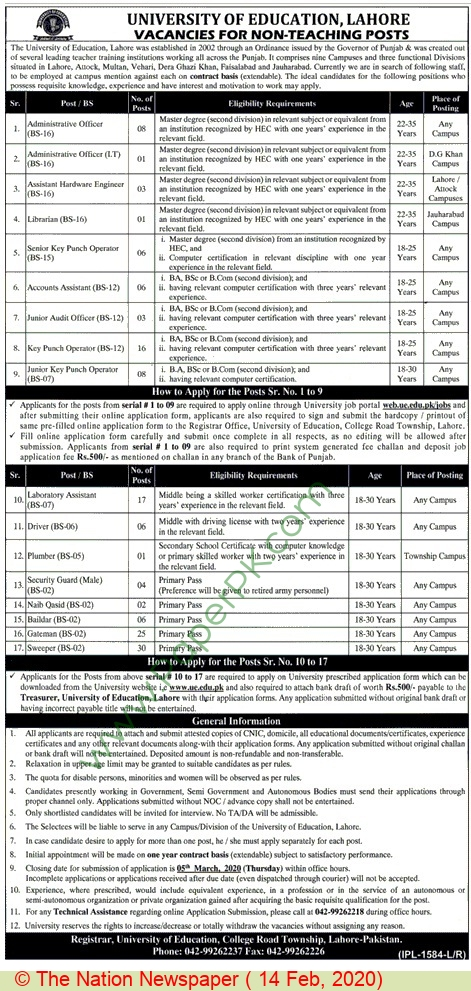 University Of Education jobs newspaper ad for Junior Key Punch Operator in Lahore