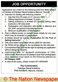 Pakistan Naval Academy jobs newspaper ad for Instructor For Sailing in Karachi