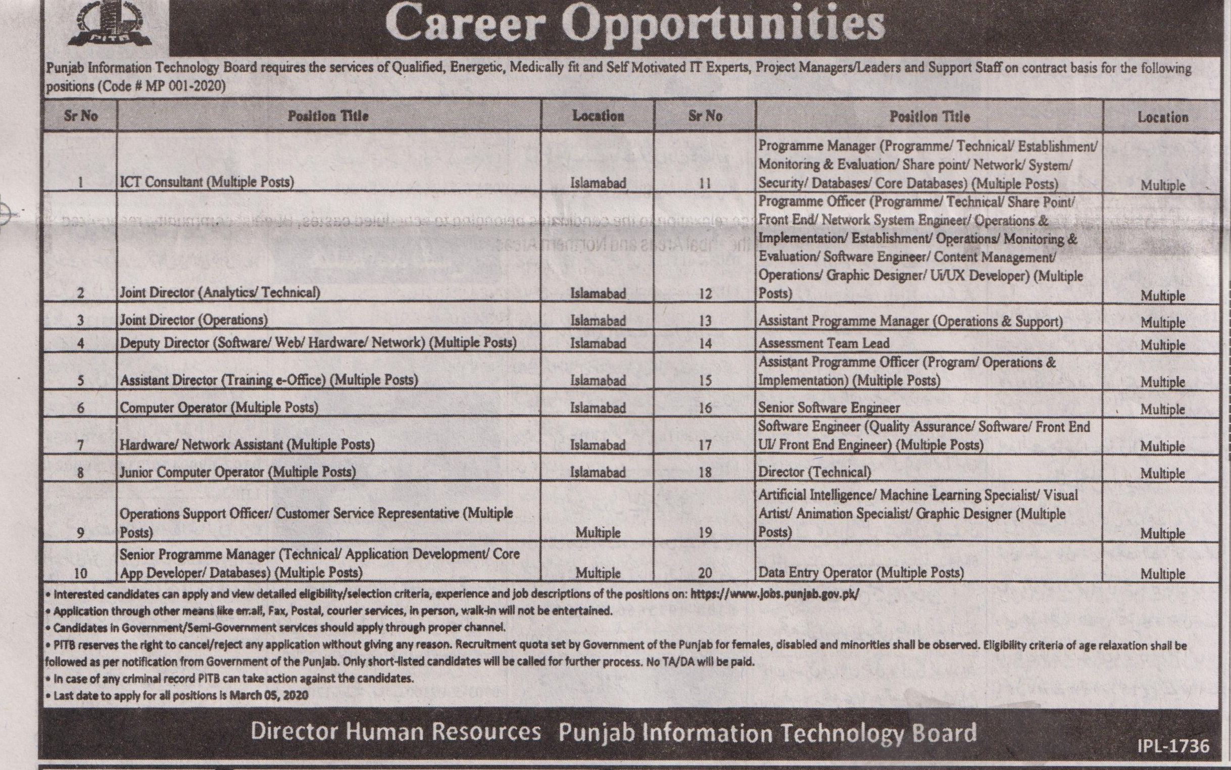 Punjab Information Technology Board jobs newspaper ad for Hardware Network Assistant in Lahore