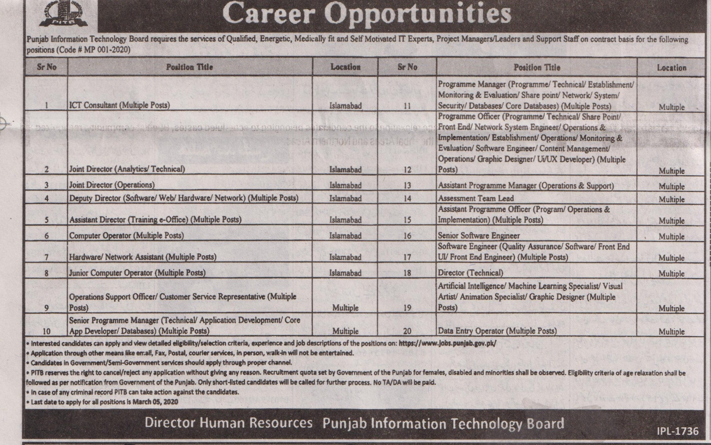 Punjab Information Technology Board jobs newspaper ad for Junior Computer Operator in Lahore