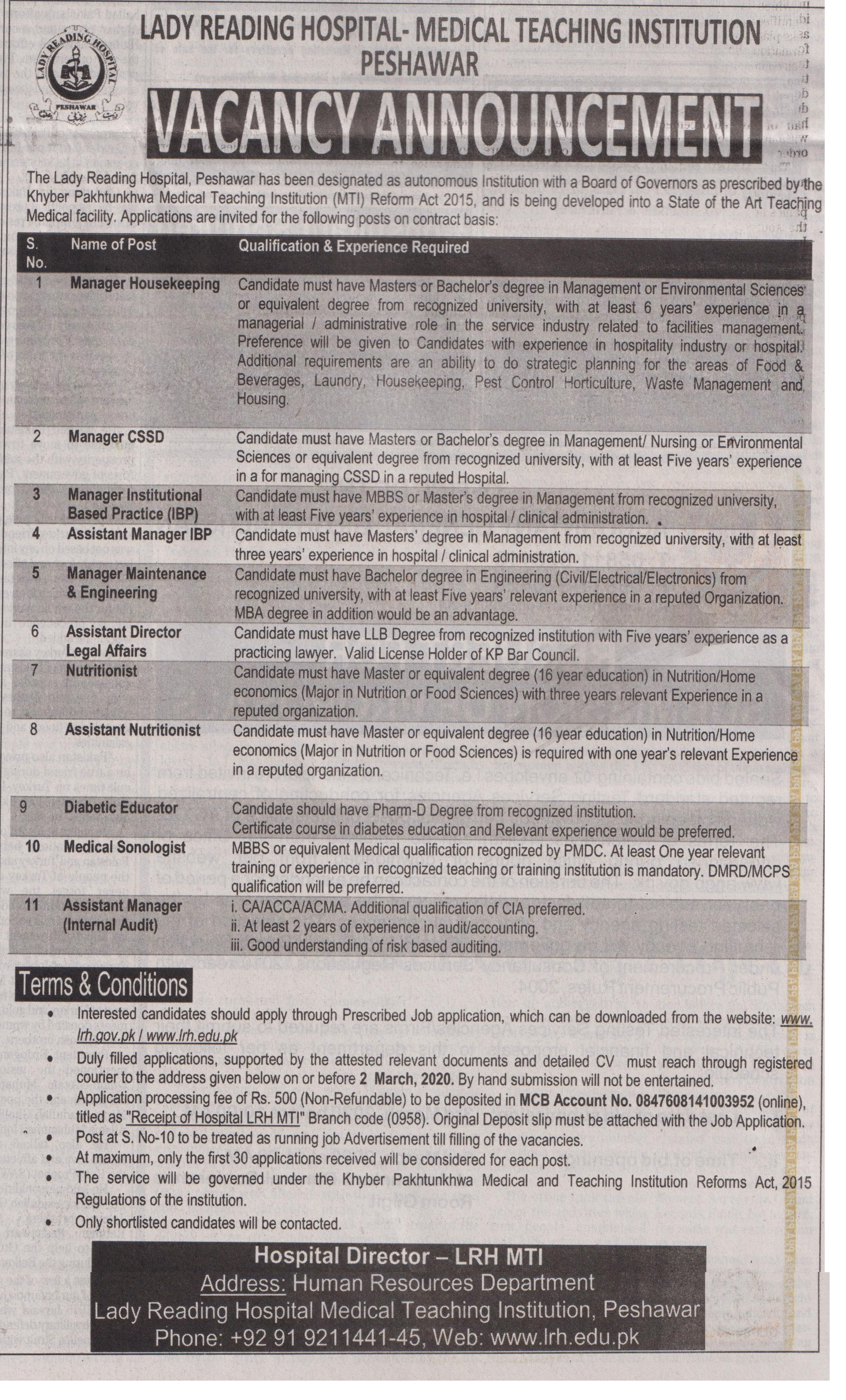 Lady Reading Hospital Medical Teaching Institution jobs newspaper ad for Manager Maintenance in Peshawar