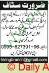 Pakistan Based Company jobs newspaper ad for Staff in Multiple Cities