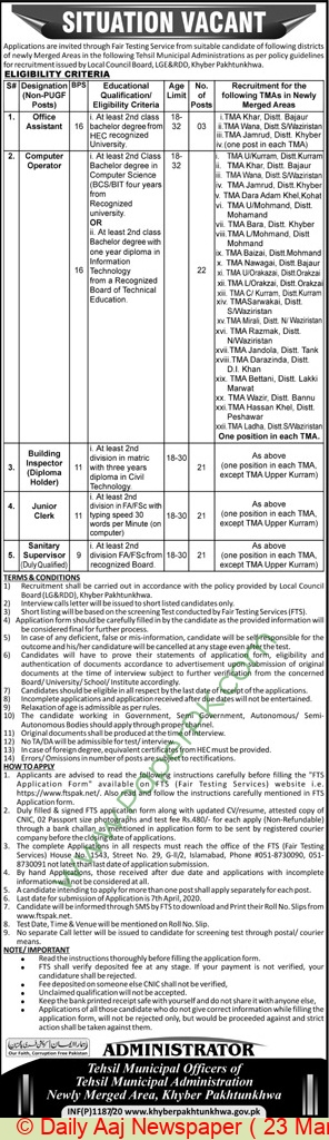 Tehsil Municipal Administration jobs newspaper ad for Office Assistant in Peshawar