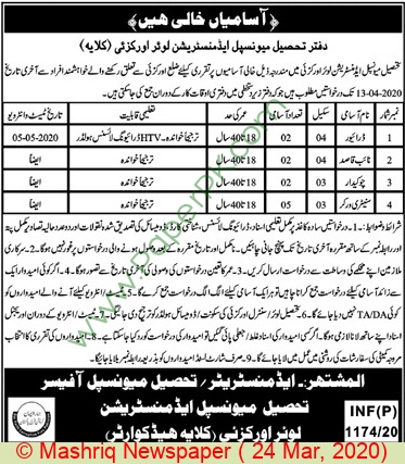 Tehsil Municipal Administration jobs newspaper ad for Driver in Orakzai Agency
