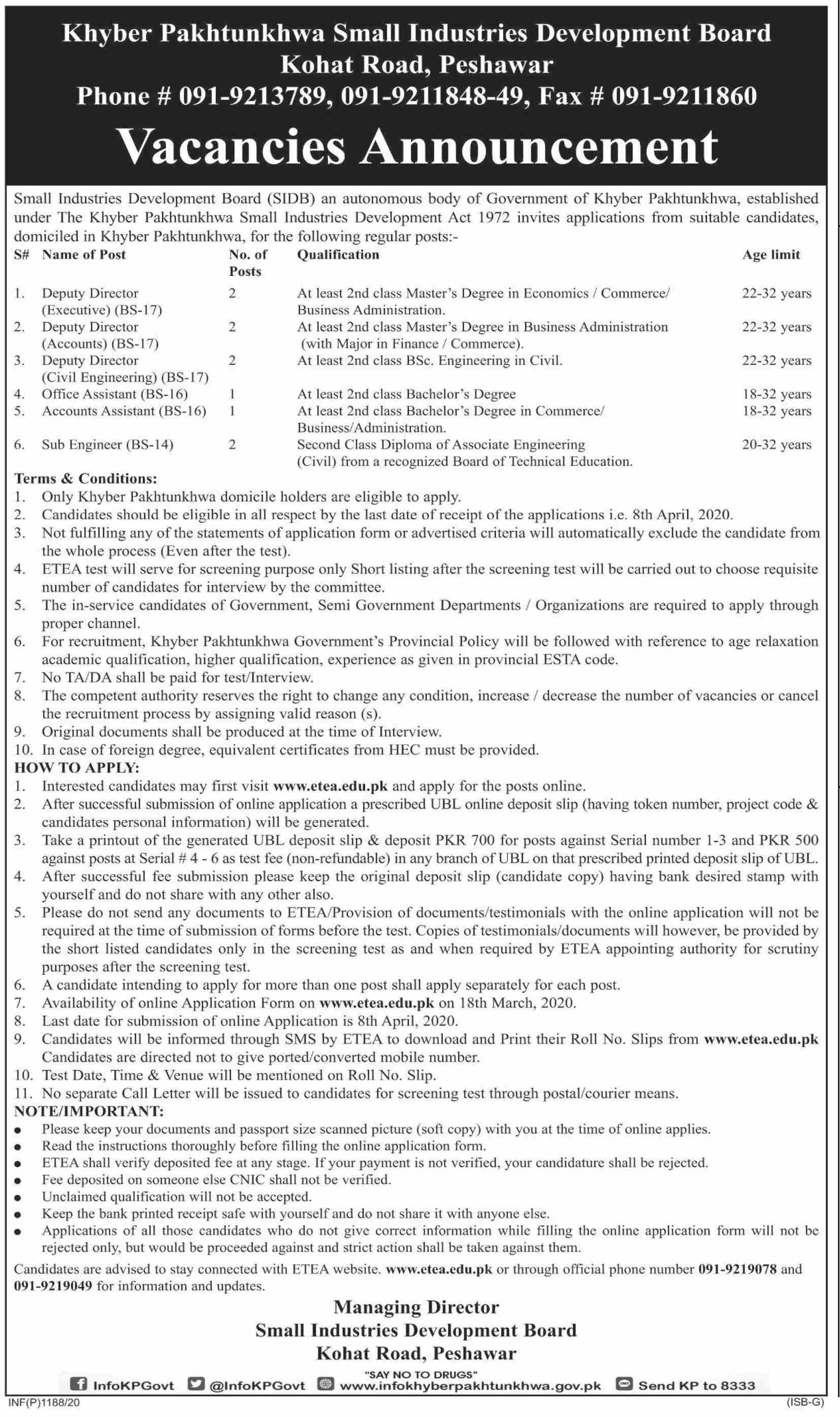 Kpk Small Industries Development Board jobs newspaper ad for Deputy Director Executive in Peshawar