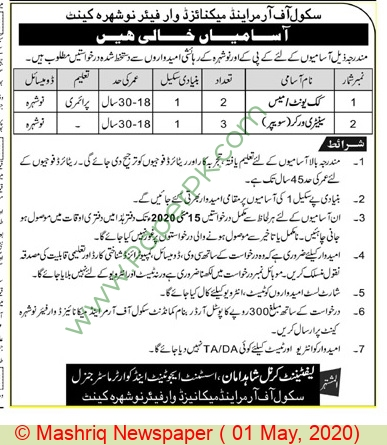 Pakistan Army jobs newspaper ad for Sanitary Worker in Nowshera