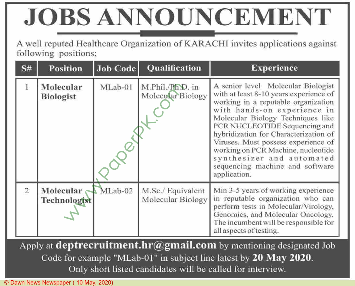 Healthcare Company jobs newspaper ad for Molecular Biologist in Karachi