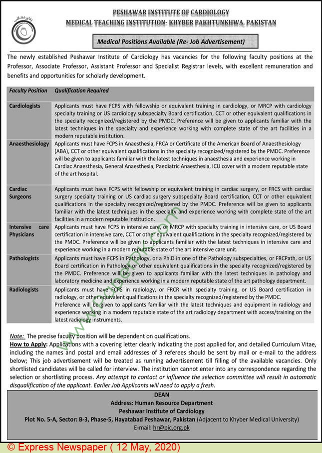 Peshawar Institute Of Cardiology jobs newspaper ad for Assistant Professor in Peshawar