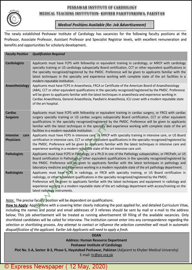Peshawar Institute Of Cardiology jobs newspaper ad for Associate Professor in Peshawar