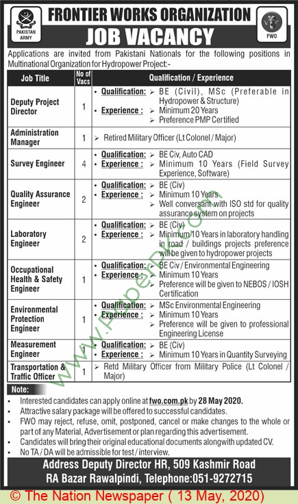 Frontier Works Organization jobs newspaper ad for Administration Manager in Rawalpindi