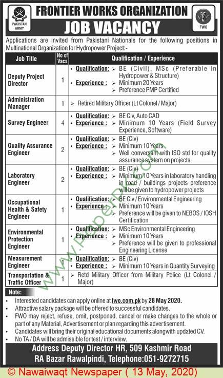 Frontier Works Organization jobs newspaper ad for Transportation & Traffic Officer in Rawalpindi