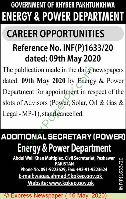 Energy & Power Department jobs newspaper ad for Advisor (Cancellation) in Peshawar