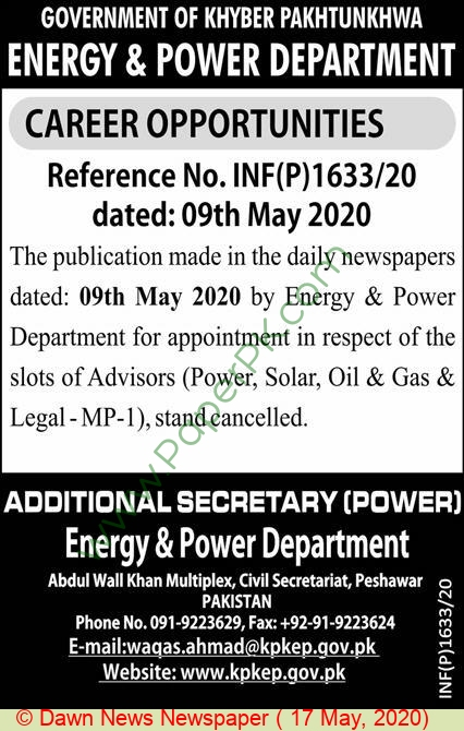 Energy & Power Department jobs newspaper ad for Advisor in Peshawar