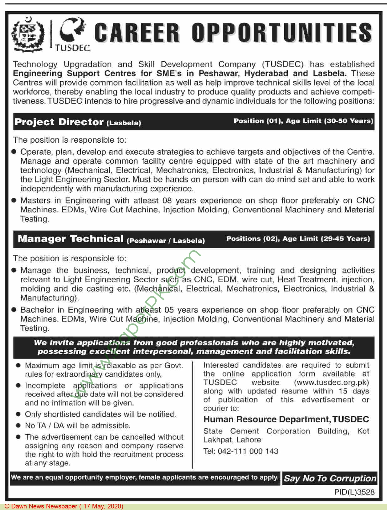 Technology Upgradation & Skill Development Company jobs newspaper ad for Manager Technical in Peshawar